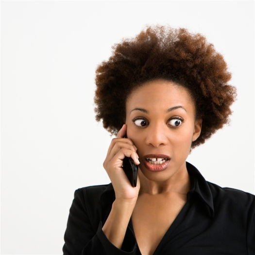 Woman with Afro on Phone, Little Black Dress