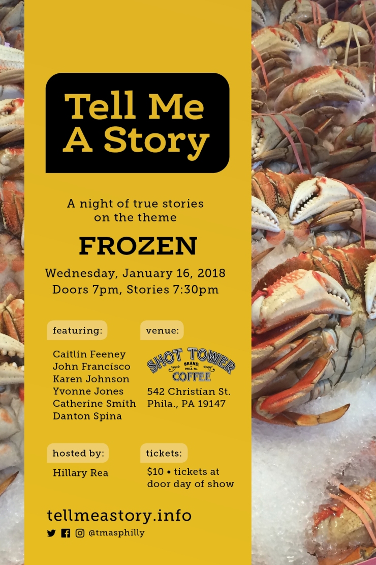 Tell Me A Story Storytelling Event Promo Card for 1/16/19 Frozen-Themed Storytelling Show
